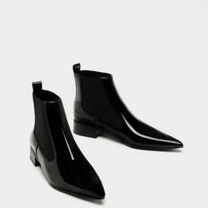 Zara Flat Patent Pointed Toe Ankle Boots